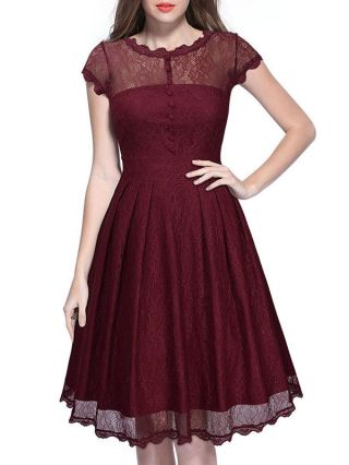Summer Dresses Vintage Lace Openwork A-line Dress with Short Sleeves