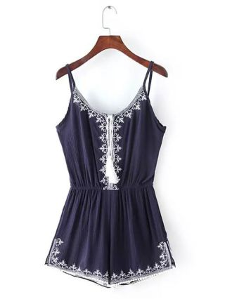 Summer Ethnic Style Embroidered Lacing Sleeveless Straps Jumpsuits