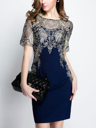 Summer Lace Dress Fashion Mesh Embroidery Stitching Short Sleeve Bodycon Plus Size Dresses