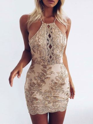 Summer Lace Hollow Dresses Gold Halter Backless Club Bodycon Short Dress