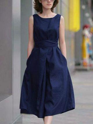 Summer Sleeveless Belted Bowknot Cotton Linen Midi Dress