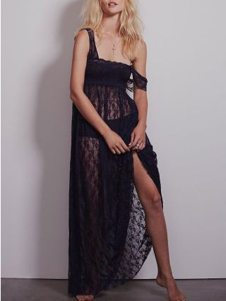 Summer Square Collar Sleeveless High Wasit See-through Split Maxi Lace Dress Open Back