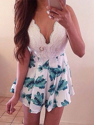 Summer White Lace Stitching Blue Flowers Printed Deep V-neck Rompers