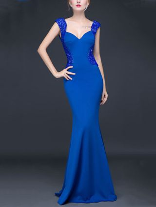 Valentines Day Dresses V-neck Beading Backless Mermaid Bodycon Party Evening Gowns Long Prom Dress