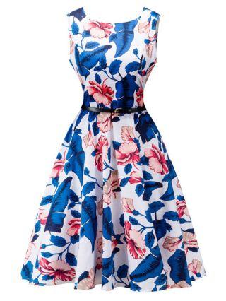Vintage Audrey Hepburn Dress Blue Sleeveless Flowers Printed Swing Summer Dresses
