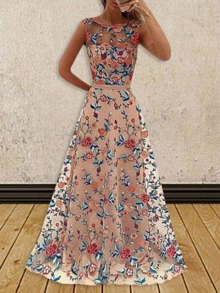 Vintage Long Evening Dress Pink Flowers Embroidery Gauze Sleeveless High Waist Summer Dress