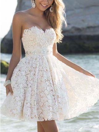 White Graduation Dresses Bandeau Lace Crochet Hollow Bridesmaid Summer Short Dress