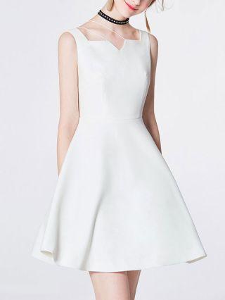White Graduation Dress Fashion Sleeveless High-waisted Straps Midi Cocktail Dress