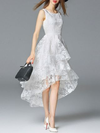 White Jacquard High Low Midi Sleeveless Dress