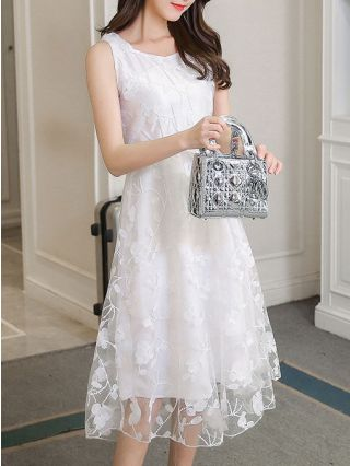 White Lace Dresses Summer High-waisted Sleeveless Embroidered Midi Dress Sundress