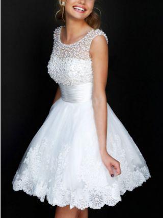 White Short Homecoming Graduation Dress Sleeveless Beading Lace Stitching Gauze Backless Wedding Dress
