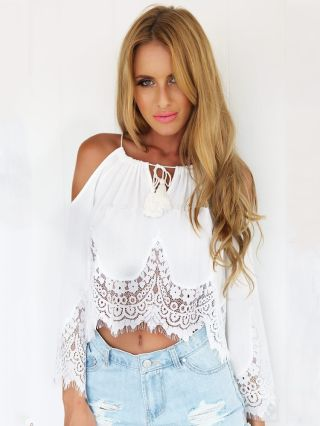 White Lace Stitching Chiffon Straps Halter Cold Shoulder Bell Sleeve Top