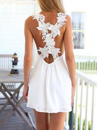 White V-neck Sleeveless Stitching Summer Beach Mini Dress with Open Back
