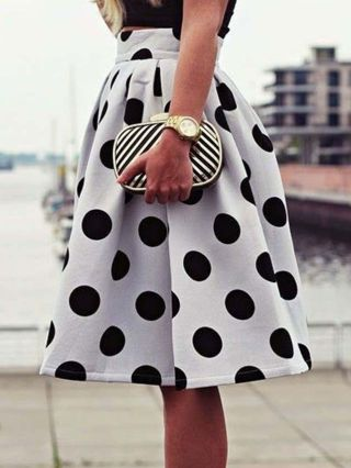 White Vintage Country Style Polka Dots Printed High-waisted Umbrella Tutu Skirt