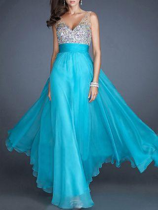 Women Deep V-neck Chiffon Sequins Diamonds Formal Evening Prom Maxi Dress