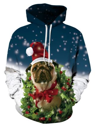 Women/Men Ugly Christmas Dog Printed Hoodies Plus Size Couple Jacket Hooded Clothes