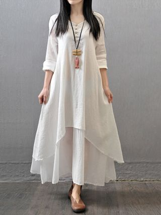 Women's Casual Daily Simple  Chinoiserie Loose Dress Solid V Neck Maxi Long Sleeve Cotton  Polyester Fall Mid Rise
