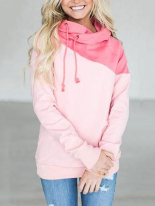 Women's Hoodies Stitching Color Long Sleeves Casual Hooded Clothing