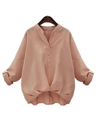 Women's Loose Long Sleeve Stand Collar Cotton Blouse