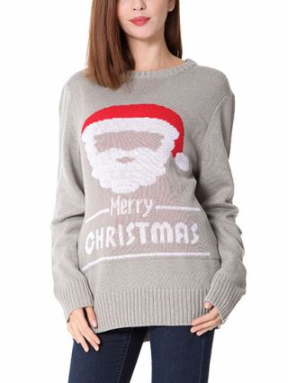 Women's Ugly Grey Jumpers Letter Merry Christmas Hat Printed Thick Casual Knitted Sweaters