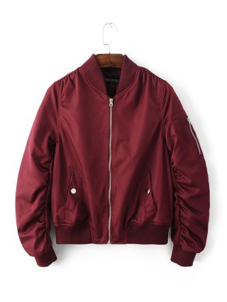 Womens Bomber Jackets Wine Red