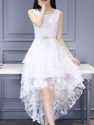 Womens White Jacquard High Low Midi Sleeveless Dress