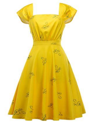 Yellow Flowers Printed Short Sleeves Midi Summer Dresses